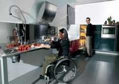 Hability - a beautiful wheelchair-friendly kitchen by design firm Valcucine in collaboration with architect Marco Miscoscia.