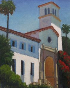 Jennifer Boswell Original Modern California Impressionist Santa Barbara Courthouse Oil Painting