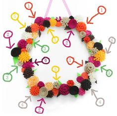 """Lines Across"": Scrappy Flower Hexagon Wreath"