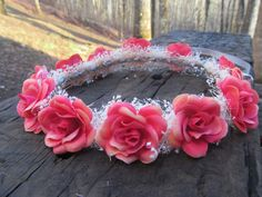 Coral pink rose crown Headband Halo bridal headpiece flower girl bridesmaid rustic  baby's breath shower child peach  light (27.99 USD) by dieselboutique