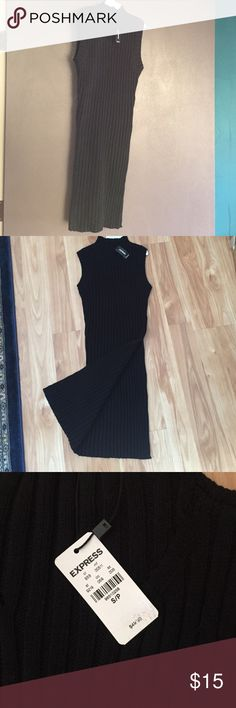 BUNDLE SALE 🎉Sleeveless sweater dress Black, rubbed sweater dress. Slit on left side to waist so it must be worn with leggings. Size small. NWT. Express Sweaters Cowl & Turtlenecks