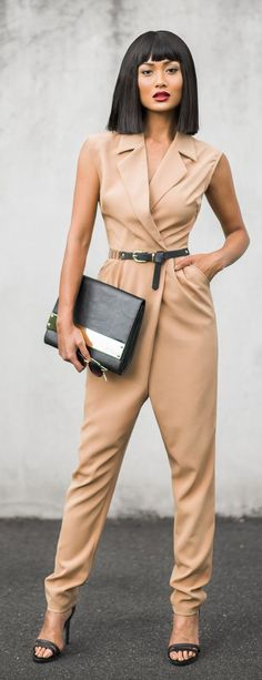 Nude Inspiration beige Jumpsuit by Micah Gianneli Fashion Mode, Look Fashion, Womens Fashion, Fashion Trends, Fashion Ideas, Style Outfits, Cute Outfits, Summer Outfits, Style Casual