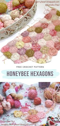 Honeybee Hexagons Free Crochet Pattern  Hello there, crocheting newbies! Are you in the hexagon mood today? Obviously! If you are looking for your first pattern of the kind, Sanda Paul has got you covered.  #crochetblock #crochethexagon #crochethexagonblanket #crochetblanket #freecrochetpattern Crochet Hexagon Blanket, Crochet Blocks, Crochet Squares, Crochet Motif, Hexagon Crochet Pattern, Hexagon Quilt, Crochet Blankets, Etsy Embroidery, Embroidery Stitches Tutorial