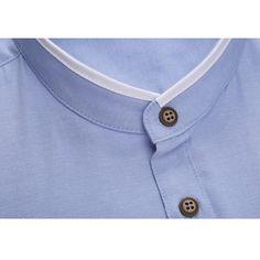 Moda para hombre delgado del collar soporte del color sólido del verano de gran tamaño más la manga corta camisa de vestir de negocios - Banggood Móvil