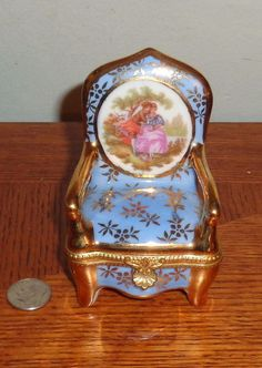 Vintage Limoges French Porcelain Hand Painted  Armed Chair Hinged Trinket Box