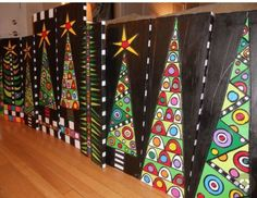 Home Design DIY - Magazine Déco Design Christmas Trees. That would be a beautiful school art project idea. {Sorry no link, but such a GLORIOUS project! Add link if you know it}<br> Christmas Art Projects, Winter Art Projects, School Art Projects, Christmas Paintings, Christmas Activities, Holiday Crafts, Advent Art Projects, Christmas Art For Kids, Christmas Canvas