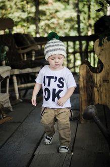 """""""It's Ok"""" toddler white short sleeve tee"""