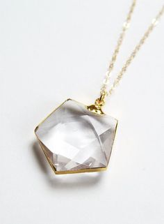 Hexagon Quartz Gold Necklace by friedasophie on Etsy