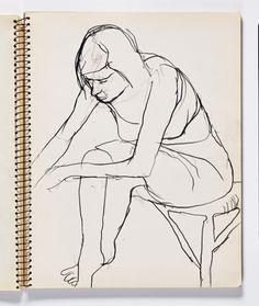 Diebenkorn, graphite, Page 055 from Sketchbook # 22 [seated woman bending]
