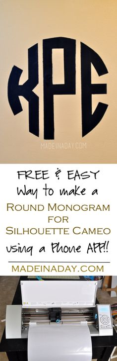 Circle Monogram Stencil. Make a round monogram for Silhouette Cameo with a Phone app! Then make a monogram stencil for your walls!
