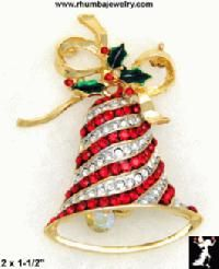 `Striped Christmas Bell Broach. So cute! I always wanted a beautiful Christmas broach! (mrspattonxoxo)