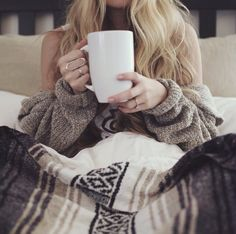 I don't want to get out of bed yet // cozy sweater // Sunday coffee