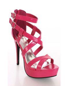 Fuchsia Anklet Strappy Platform Sandal Stiletto Heels Gemini