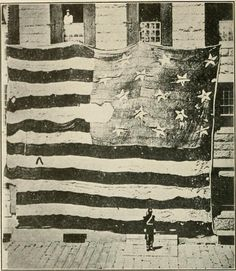 Star spangled banner. The flag that flew over Fort McHenry in 1814, photographed in 1873 in the Boston Navy Yard by George Henry Preble