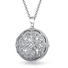 Bling Jewelry Sterling Silver CZ Pave Vintage Flower Medallion Locket... (63 AUD) ❤ liked on Polyvore featuring jewelry, pendants, clear, special occasion jewelry, sterling silver pendants, filigree locket, sterling silver locket, vintage style lockets and vintage jewelry