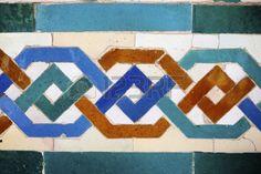 Primer plano de una pieza de cerámica en Reales Alcázares de Sevilla Andalucía España
