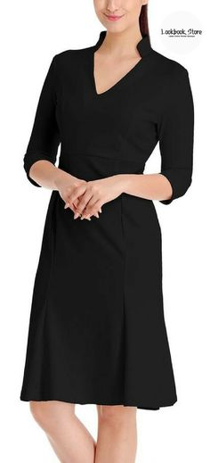 Dressy Dress // Reveal your timeless beauty as you slip into this simple and basic yet fabulous black stand collar crop sleeves dress.
