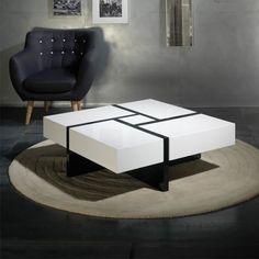 TABLE BASSE Table basse carrée laque blanche + laque noire - QUADRO - L 100 x l 100 x H 35 cm