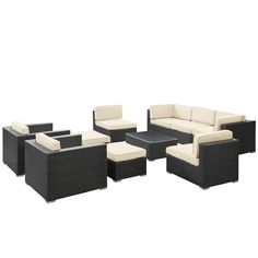 Avia 10 Piece Outdoor Patio Sectional Set in Espresso White. Available in 6 colors. Outdoor Sectional, Outdoor Furniture Sets, Outdoor Decor, Love Seat, Showroom, Outdoor Living, Home Furnishings, Cushions, Patio