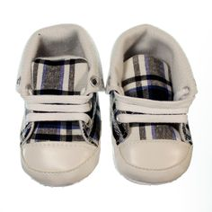 Fashionable pre-walker sneaker for boys. Chequered black, white and blue design with white laces. Sneakers are versatile allowing you to create two distinct looks- you can keep them ankle high and lace all the way to the top or fold down the tops and only lace up ½ way making them a low rise sneaker. Non-slip sole and lightweight.  Price: $29.95  http://www.bubbaboosh.com.au/boys-shoes/Archie