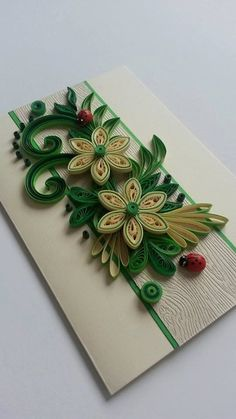 Handmade Greeting Card - Quilling Birthday Card - Quilling Flowers