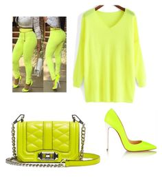 """yellow neon"" by deajhaboyd on Polyvore featuring Rebecca Minkoff and Christian Louboutin"