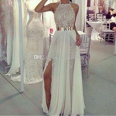 2017 New Long White Slite Side Prom Dress Chiffon Party Dress A-line Lace Sexy Halter Evening Gowns with Belt White Prom Dress Slit Side Chiffon Prom Dress A-line Evening Gowns with Beadeds Online with 216.0/Piece on Meetdresses's Store | DHgate.com