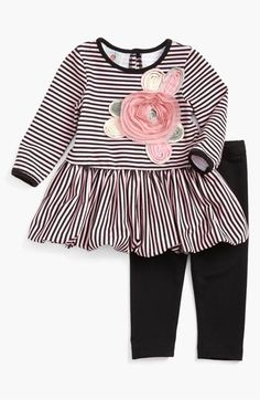 Pippa & Julie Dress & Leggings (Infant) available at #Nordstrom.  Stripes. Texture. Flowers. Bubble.  Leggings  this has it all