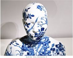 Blue and white ceramic bust by Ah Xian. Traditional material and pattern, yet fresh and contemporary.
