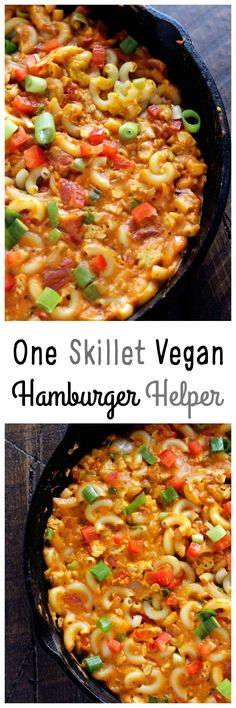One Skillet Vegan Hamburger Helper - Using a homemade vegan cheese sauce and tempeh, giving this meal the healthy twist it deserves. Ultra cheesy, kids and adults approved. NeuroticMommy.com #vegan #healthy