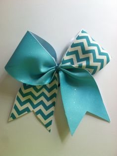 3inch BIG Cheerbow Teal Blue and Chevron Tic Toc by ThrowITBows, $10.00