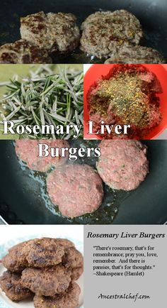 Rosemary Liver Burgers grass fed beef liver burgers: powerful superfood ingredient – thyroid support, vitamin B's, mental cognizance, energy Beef Kabob Recipes, Sirloin Recipes, Liver Recipes, Meat Recipes, Paleo Recipes, Real Food Recipes, Cooking Recipes, Fondue Recipes, Burger Recipes