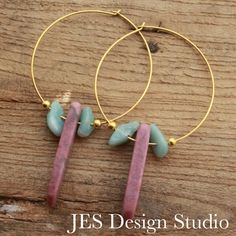 Gold tone Endless Hoops with Natural Raspberry Rhodochrosite and aquamarine and gold beads.1.5 inch Hoops. JES Design Studio  www.Etsy.com/shop/JESDesignStudio