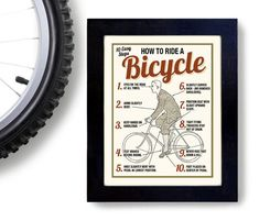 Bicycle Art Print Cycling Art How to Ride a Bike Vintage by DexMex, $18.00