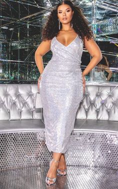 5877245bfe PLT Silver Sequin Wrap Over Midaxi Dress Plus Size Sequin Dresses