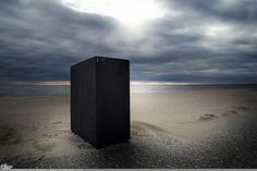 """Picture-A-Day (PAD n.2683) """"Until Next Year""""  Saw this odd box at the beach the other day and today the clouds were perfect for capturing it... prints and more: http://www.dangrabbit.com/photography/pad/11_21_untilnextyear  . . . . . Fineart photography - odd box on beach Long Island NY - by Amy DangRabbit Medina"""