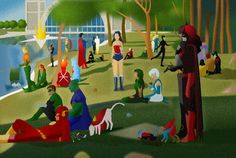 "Artist Rey Taira updates Georges Seurat's masterpiece of pointillism ""A Sunday Afternoon on the Island of La Grande Jatte"" by adding DC's superheroes. Behold, ""Saturday Morning in Front of La Salle De Justice."""