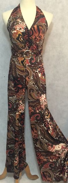 Women's Paisley And Animal Print Stretch Knit Halter Palazzo Pant Jumpsuit SZ S  | eBay