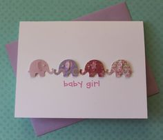 Handmade Baby Card Baby Shower Card New Baby Card Welcome Baby Girl Gift Card 3D Lavender Pink Paisley Hearts Elephants Pearls on White Cardstock via Etsy