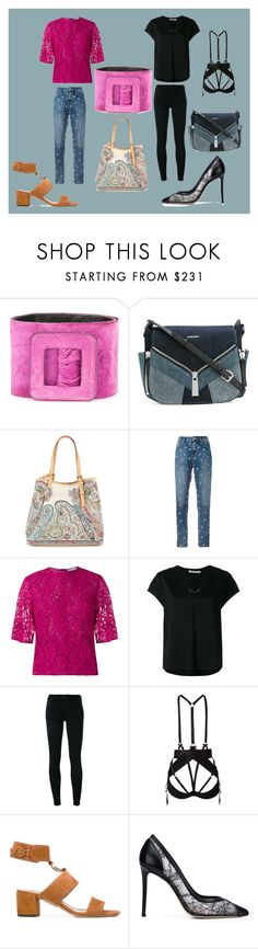 """""""black and pink fashion"""" by monica022 ❤ liked on Polyvore featuring Yves Saint Laurent, Diesel, Etro, Zoe Karssen, Martha Medeiros, T By Alexander Wang, Citizens of Humanity, Bordelle, Aquazzura and Monique Lhuillier"""