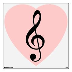 "Treble Clef in pink heart ""Music Love"" wall decal."