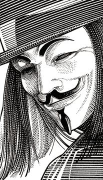 Wall Street Journal Hedcut Portfolio by acclaimed illustrator and portrait artist Randy Glass including celebrities, pen & ink, stipple, portraits, pointillism. Vendetta Tattoo, V Pour Vendetta, The Fifth Of November, Stippling Art, Guy Fawkes, Desenho Tattoo, Wall Street Journal, Gravure, Caricatures