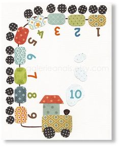 A Fun Train  numbers blue green orange  baby by GalerieAnais