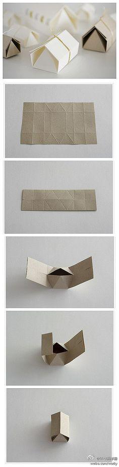 纸艺 纸折成的小房子,很可爱啊!