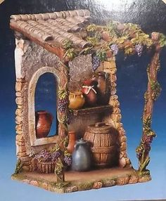 Pesebres Home Candles, Fairy Doors, All Things Christmas, Diorama, Cribs, Nativity, Mockup, Bedspreads, Wood Fontanini Nativity, Medieval Houses, Home Candles, Fairy Doors, All Things Christmas, Diorama, Creations, Xmas, Painting
