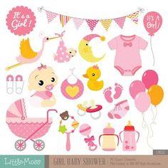 Girl Baby Shower Digital Clipart by LittleMoss on Etsy