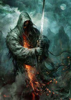 Art about fantasy, steampunk, comics, sci-fi and other lands of dreams. Dark Fantasy Art, Fantasy Artwork, Fantasy World, Dark Art, Tolkien, Digital Art Illustration, Fantasy Warrior, Warrior Angel, Angels And Demons