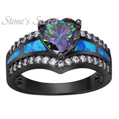 Black Gold Plated Rainbow Stone Blue Opal Rings Heart Jewelry for Women Wholesale Fashion Jewelry Party Cocktail Ring Gift BR090-in Rings from Jewelry & Accessories on Aliexpress.com | Alibaba Group