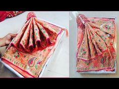 How to pack saree for trousseau / wedding Saree packing Wedding Card Design Indian, Desi Wedding Decor, Wedding Stage Decorations, Wedding Mandap, Saree Wedding, Wedding Ideas, Wedding Gift Baskets, Wedding Gift Wrapping, Diy Wedding Flowers