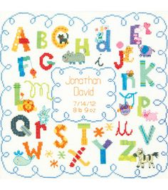 """Baby Hugs Alphabet Birth Record Counted Cross Stitch Kit-12""""X12"""" 14 Count at Joann.com"""